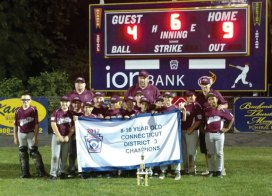 The Union City Little League 8-10 District All Stars beat Shelton National Little League, 9-4, at Peter J. Foley Little League Stadium in Naugatuck on July 13 to win the Connecticut District 3 championship for the second year in a row. Union City finished the tournament undefeated. This is the first back-to-back district title for Union City at this level in its history. Pictured, front row from left, Ryan McLaughlin, Andrew Jones, Tyler Accetura, Joseph Kovach, Billy Morran, JoJo Guzman, James Korowotny, Brendan Cummings, Damon Abate, Colton Hofmann, Colin Sanderson, Anthony Shivas, Ethan Williams; back row from left, assistant coach Sean McLaughlin, head coach Don Shivas and assistant coach Kris Abate. -CONTRIBUTED