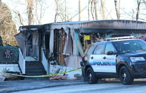 A man was killed during a fire that destroyed this mobile home at 7 Shadduck Road in Naugatuck on Friday.–ELIO GUGLIOTTI