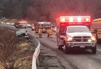 First responders on the scene of a three-car accident on Route 8 south in Beacon Falls Monday. –CONTRIBUTED