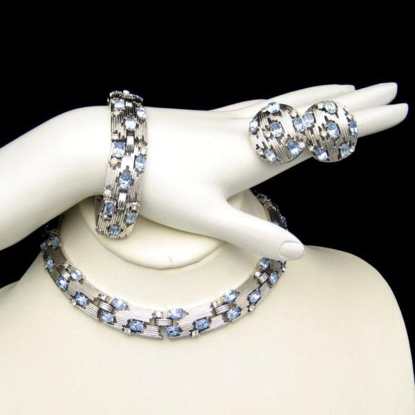 Crown Trifari Vintage Necklace Bracelet Earrings Ice Blue