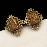 CORO Vintage Cameo Clip Earrings Mid Century Heraldic ...