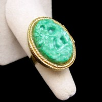 AVON Vintage Cocktail Ring Mid Century Faux Jade Carved ...