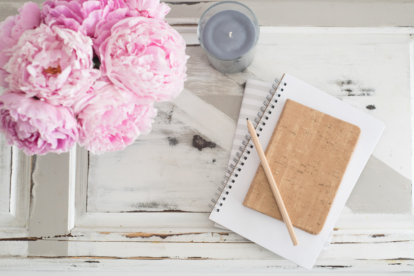 styled stock photo with notepad and pink carnations by