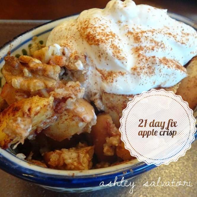 Warm apple crisp makes the perfect fall and winter desert, perfect for following 21 Day Fix.