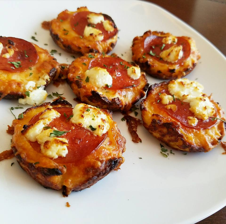 Low Carb Mini Pepperoni Goat Cheese Pizza