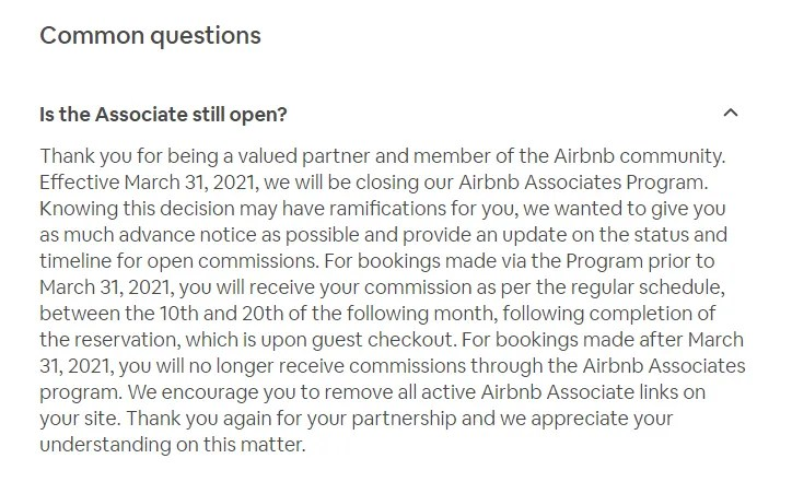 Airbnb Associates Program Closing Announcement from Airbnb