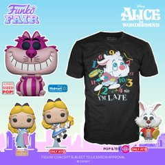 funko fair day 8 toy fair 2021 disney alice in wonderland 70th anniversary jumbo sized pop and tee cheshire cat white rabbit flocked floating walmart box lunch target exclusive