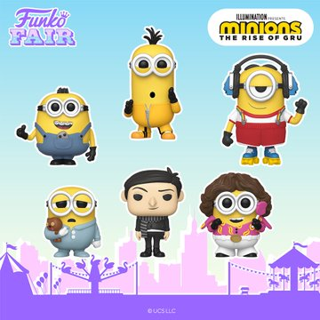 funko fair day 7 animation toy fair 2021 minions the rise of gru kung fu kevin pet rock otto roller skating skate stu stuart 70's pajama bob young pop
