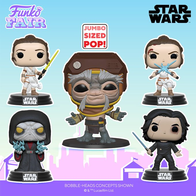 Funko Toy Fair Star Wars Rise of Skywalker Pop! Preorder 10 inch Babu Frik Rey Kylo Ren Emperor Palpatine Darth Sidious