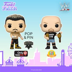 funko fair day 3 toy fair 2021 sports and games wwe wrestlemania wrestling eddie guerrera stone cold steve austin pop pin gamestop 711 exclusive