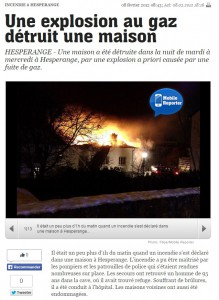 Artikel L'Essentiel Gaz explosion