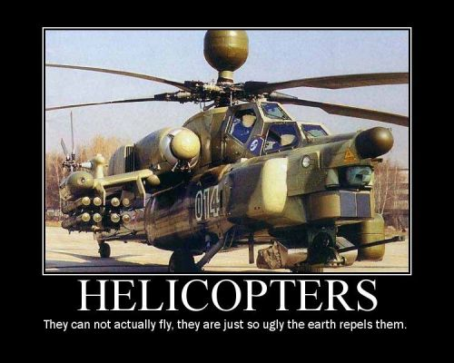 helicopters - they can not actually fly, they just so ugly the earth repels them