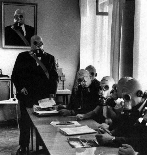 Gas mask committee meeting