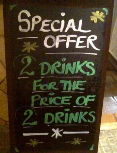 Special Offer - 2 drinks for the price of 2 drinks