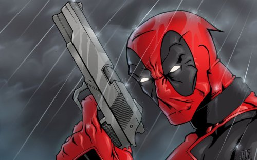 Deadpool in the rain