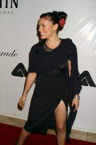 Alyssa Milano - black dress - nip slip
