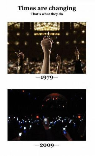 times are changing - lighters vs cellphones