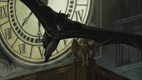 batman jumps past gargoyle