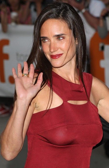 jennifer connelly - red see through dress