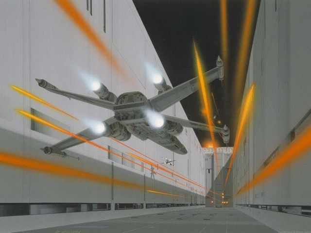star wars concept art - trench run