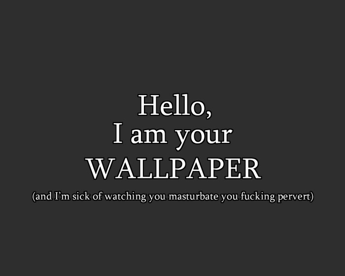 hello I am you wallpaper - and I'm sick of watching you masterbate