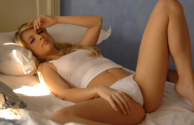 nsfw - blonde on bed