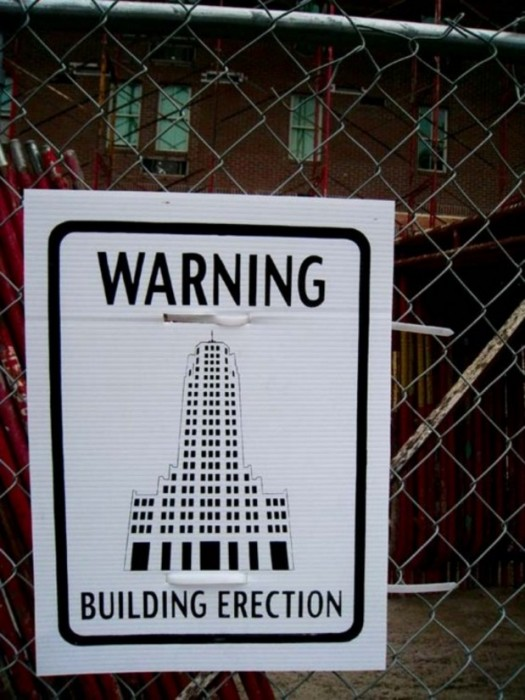 warning - building erection