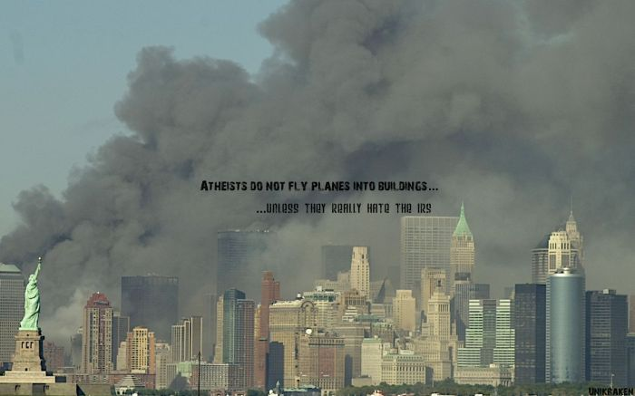 atheist do not fly planes into buildings