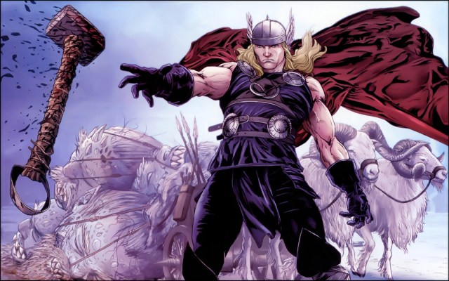 thor summons his bloody hammer while his goats look on