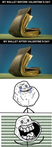 my wallet before and after valentines day