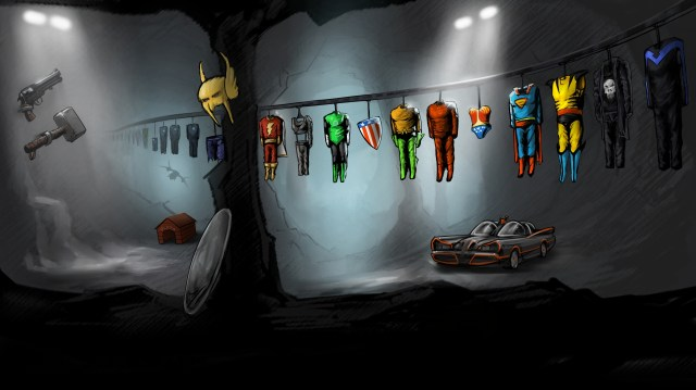 superhero costumes in the batcave .jpg