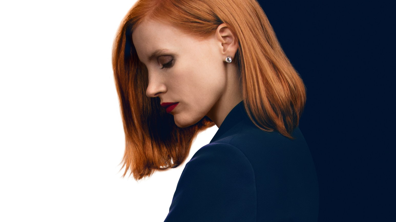 Jessica Chastain in black and white