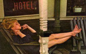 sue lyon on a hotel porch