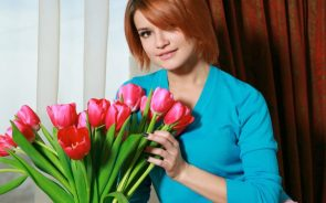 Dina P with flowers