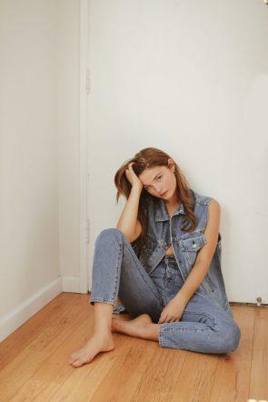 Stefanie Scott in a jean suit.jpg