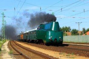Hungarian State Railways or MAV Class 242 Nicknamed Coffins these streamliners allowed high speeds in either direction One reached 167 kmh1037 mph making it the fastest Hungarian steam locomotive speed achieved MAV 242 001 passes by Szolnok in 2017 Photo by A Vasutallomas1024?  Scrolller