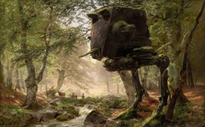 Abandoned AT-ST in a forest