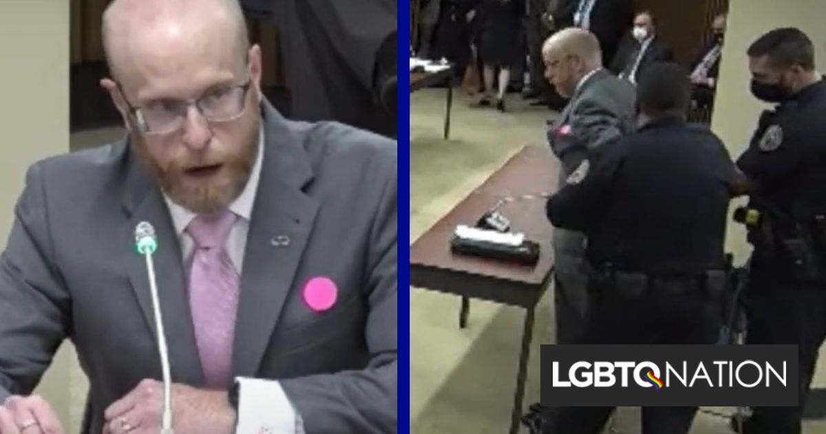 Concerned father arrested while peacefully testifying against Arkansas trans health care ban
