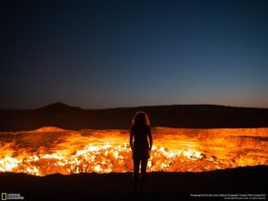 Derweze Turkmenistan a pit of fire fed by seeping natural gas that has been burning since 1971 photo by Priscilla Locke via NatGeo 1600?