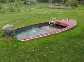 pond in a boat