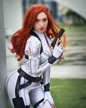 White Widow Who else cannot wait for the new movie Black widow cosplay by missbricosplay