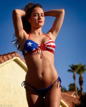 Beautiful Derrion in a USA bikini