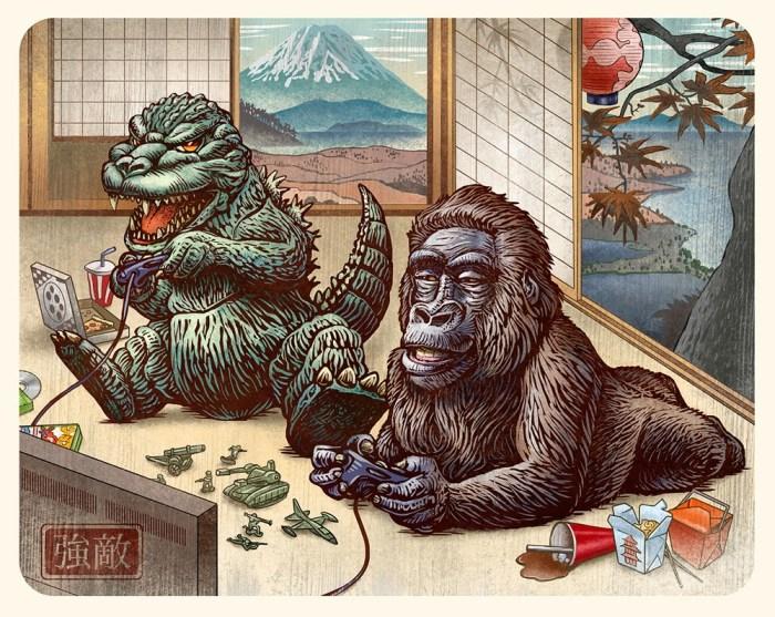 Guzu-Gallery-presents-Strange-Beasts-2-A-Tribute-to-the-King-Group-Art-Show-Boss-Battle-Godzilla-vs.-King-Kong-by-Chet-Phillips.jpg (334 KB)