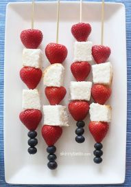July 4th Strawberry & Cake Kabobs