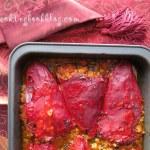 Печени червени чушки с постна плънка