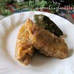 Постни зелеви или лозови сарми с праз лук, гъби, ориз, стафиди и мерудии