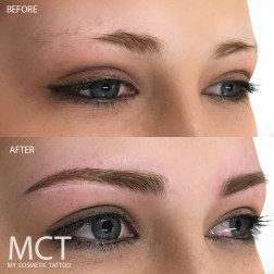 A combination of a few techniques to help blend in the tattoo to the actual brow.