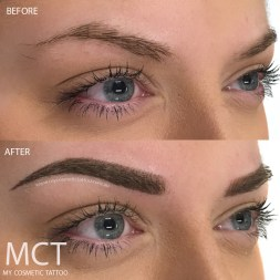 A combination of hair strokes and powder finish. This brow will heal 4-6 shades softer.