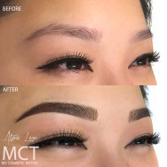 Hybrid Brow Tattooing, a combination of hair strokes and powder finish