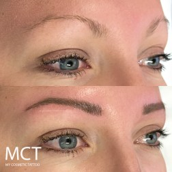Before and immediately after Brow 3D feathering tattoo.